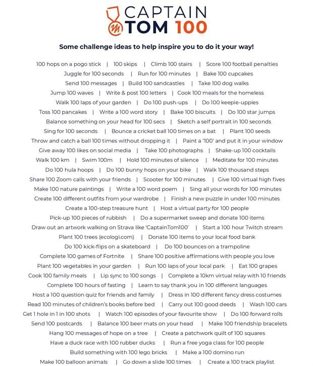 List of ideas for Captain Tom 100 Challenge